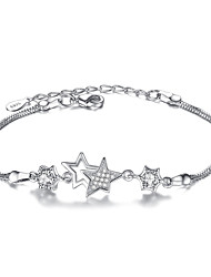 cheap -Women's Chain Bracelet Star Ladies Fashion Sterling Silver Bracelet Jewelry White / Purple For Christmas Gifts Party Special Occasion Gift