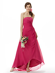 cheap -Princess / A-Line Strapless Sweep / Brush Train / Asymmetrical Chiffon Bridesmaid Dress with Side Draping