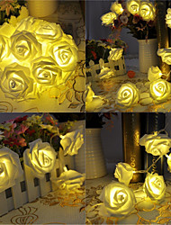 cheap -5 Meter Battery Powered 20 LED Rose Flower String Fairy Lights Wedding Home Birthday New Year Event Party Christmas Decoration Warm White