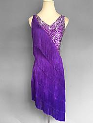 cheap -Latin Dance Tassel Splicing Crystals / Rhinestones Women's Sleeveless Natural Spandex