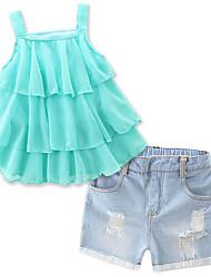 cheap -Toddler Girls' Ruffle Dresswear Daily Holiday Beach Solid Colored Sleeveless Regular Regular Cotton Clothing Set Green