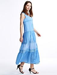 cheap -Women's Maxi White Light Blue Dress Summer Daily A Line Patchwork V Neck Lace Mesh S M / Cotton