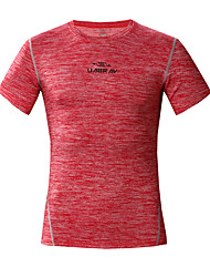 cheap -UABRAV Men's Running T-Shirt Short Sleeve Elastane Breathable Quick Dry Comfortable Gym Workout Running Fishing Exercise & Fitness Leisure Sports Sportswear Tee T-shirt Dark Grey Light Red Sky Blue