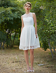 cheap -A-Line Wedding Dresses Jewel Neck Knee Length Lace Sleeveless Little White Dress with Sash / Ribbon Draping 2020