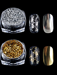 cheap -1 box gold silver glitter aluminum flakes magic mirror effect powders sequins nail gel polish chrome pigment decorations 0 2g