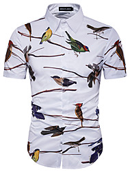 cheap -Men's Daily Weekend Plus Size Cotton Slim Shirt - Animal Print White / Short Sleeve / Summer