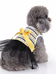 cheap -Cat Dog Dress Tuxedo Dog Clothes Yellow Costume Cotton Stripes Casual / Daily Wedding Fashion XS S M L XL