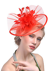 cheap -Women's Kentucky Derby Hat Solid Color Mesh Acrylic Feather Party