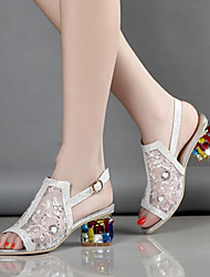 cheap -Women's Sandals Glitter Crystal Sequined Jeweled Chunky Heel Peep Toe Buckle / Crystal Heel Tulle / Microfiber Comfort / Novelty / Club Shoes Skiing Shoes Summer / Fall Gold / Silver / Black / EU39