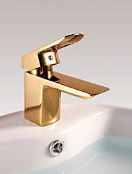 cheap -Antique Centerset Waterfall Ceramic Valve Single Handle One Hole Ti-PVD, Bathroom Sink Faucet