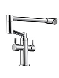 cheap -Kitchen faucet - Two Handles One Hole Chrome Pot Filler Centerset Contemporary Kitchen Taps
