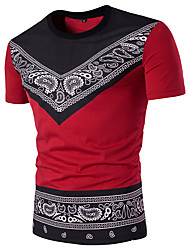 cheap -Men's Daily Sports Weekend Street chic Cotton Slim T-shirt - Paisley / Tribal Black & Red Round Neck White / Short Sleeve