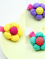 cheap -South Korean Edition Cotton Ball Child Hair Card Small Pumpkin Flower Bud Button Hairpin the Baby Cloth Art Headdress Mixed Hair 10pcs