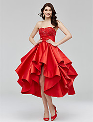 cheap -A-Line / Fit & Flare Sweetheart Neckline Asymmetrical Satin Open Back Cocktail Party / Homecoming / Prom Dress with Beading / Appliques 2020