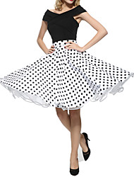 cheap -Women's Party / Cocktail Vintage Swing Skirts - Polka Dot Pleated Black White Red S M L