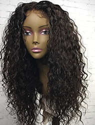 cheap -Virgin Human Hair Lace Front Wig Brazilian Hair Curly Wig With Baby Hair 130% 8-22 inch Natural Hairline / For Black Women / 100% Hand Tied Natural Black Women's Short / Medium Length / Long Human