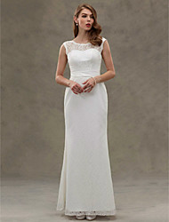 cheap -Mermaid / Trumpet Scoop Neck Floor Length Lace / Satin Sleeveless Made-To-Measure Wedding Dresses with Button 2020