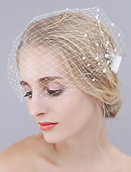 cheap -One-tier Cut Edge Wedding Veil Blusher Veils with Pearl Mesh / Birdcage