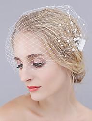 cheap -One-tier Cut Edge Wedding Veil Blusher Veils with Pearl Mesh / Birdcage