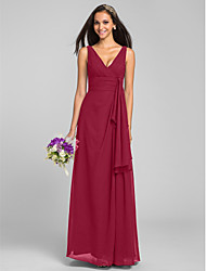 cheap -Sheath / Column V Neck Floor Length Chiffon Bridesmaid Dress with Criss Cross