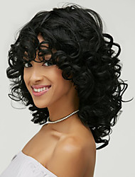 cheap -Synthetic Wig Wavy Kardashian Wavy With Bangs Wig Medium Length Natural Black #1B Synthetic Hair Women's Side Part African American Wig Black