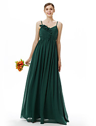 cheap -Princess / A-Line Spaghetti Strap Floor Length Chiffon Bridesmaid Dress with Pleats / Ruffles / Flower