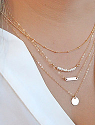 cheap -Women's Pearl Chain Necklace Layered Necklace Pearl Necklace Layered Bar Dainty Ladies Personalized Fashion Pearl Alloy Necklace Jewelry For Christmas Gifts Party Daily Casual Sports