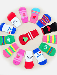 cheap -Cat Dog Socks Casual / Daily Keep Warm Stripes Cartoon For Pets Cotton Light gray / Winter