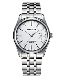 cheap -KINGNUOS Men's Wrist Watch Quartz Casual Calendar / date / day Analog White Black Blue / Stainless Steel