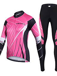 cheap -Realtoo Women's Long Sleeve Cycling Jersey with Tights Black / Pink Bike Clothing Suit Breathable 3D Pad Quick Dry Ultraviolet Resistant Back Pocket Sports Lycra Classic Mountain Bike MTB Road Bike