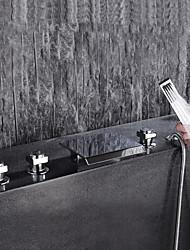 cheap -Bathtub Faucet - Contemporary Chrome Widespread Ceramic Valve Bath Shower Mixer Taps / Brass / Three Handles Five Holes