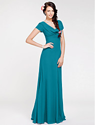 cheap -Sheath / Column Cowl Neck Floor Length Georgette Bridesmaid Dress with Side Draping / Open Back