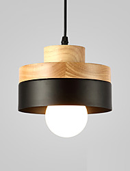 cheap -Northern Europe Simplicity Modern Wood Pendant Light Metal Shade Living Room Dining Room Cafe Lighting