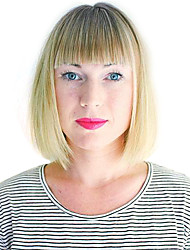 cheap -Synthetic Wig Wavy Wavy Bob With Bangs Wig Blonde Honey Blonde Synthetic Hair Women's Blonde