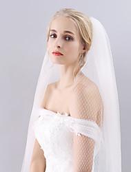 cheap -Two-tier Cut Edge Wedding Veil Fingertip Veils with Mesh / Tulle / Angel cut / Waterfall
