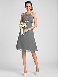 cheap -A-Line / Ball Gown Jewel Neck / Straps / Y Neck Knee Length Chiffon Bridesmaid Dress with Beading / Sash / Ribbon / Criss Cross / Open Back