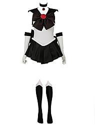 billige -Inspireret af Sailor Moon Sailor Pluto Anime Cosplay Kostumer Japansk Cosplay Kostumer Patchwork Uden ærmer Kjole Handsker Sløjfe Til Dame / Pandebånd / Halskæder / Halskæder / Pandebånd / Satin