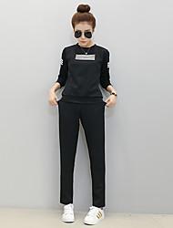 cheap -Women's Fashion Black Cotton Yoga Tee / T-shirt Top Long Sleeve Sport Activewear Inelastic