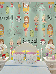cheap -Mural Canvas Wall Covering - Adhesive required Cartoon