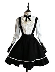 cheap -Classic Lolita Dress Blouse / Shirt Women's Girls' Cotton Japanese Cosplay Costumes Black Solid Colored Long Sleeve Knee Length