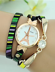 cheap -Women's Fashion Watch Bracelet Watch Quartz Leather Black Analog Ladies Eiffel Tower - LightBlue Yellow Green