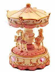 cheap -Music Box Carousel Music Box Carousel Merry Go Round Cute Lighting Glow in the Dark Unique Resin Women's Unisex Girls' Kid's Adults Kids Graduation Gifts Toy Gift