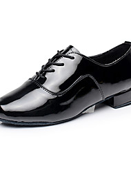 cheap -Men's Dance Sneakers / Ballroom Shoes Pigskin Lace-up Full Sole Chunky Heel Customizable Dance Shoes Black / White / Indoor / EU39
