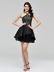 cheap -A-Line Fit & Flare Little Black Dress Homecoming Cocktail Party Prom Dress Spaghetti Strap Sleeveless Short / Mini Lace Tulle Mikado with Pleats 2020