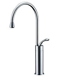 cheap -Kitchen faucet - Single Handle One Hole Chrome Standard Spout / Tall / High Arc Centerset Contemporary Kitchen Taps