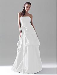 cheap -Ball Gown / A-Line Strapless Floor Length Taffeta Bridesmaid Dress with Pick Up Skirt / Sash / Ribbon / Bow(s)
