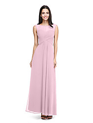 cheap -A-Line Bateau Neck Ankle Length Chiffon Bridesmaid Dress with Criss Cross / Side Draping / See Through
