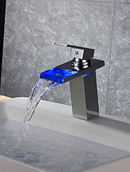 cheap -Bathroom Sink Faucet - Waterfall / Thermostatic / LED Chrome Deck Mounted One Hole / Single Handle One HoleBath Taps