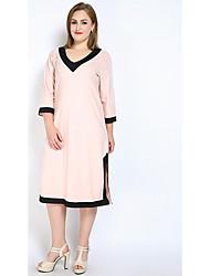 abordables -Femme Grandes Tailles Midi Ample / Courte / Tee Shirt Robe - Fendu, Bloc de Couleur Col en V Noir Rose Claire Vert Claire XXXXL XXXXXL XXXXXXL Coton