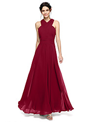 cheap -A-Line Halter Neck / Y Neck Floor Length Chiffon Bridesmaid Dress with Sash / Ribbon / Criss Cross / Ruched / Open Back